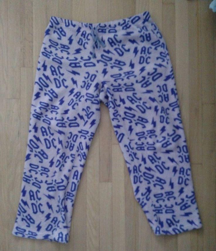 AC DC Adult Pajama Pants Bottoms XL Lavender Purple Warm Comfortable Polyester #ACDC #LoungePantsSleepShorts