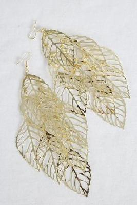 Gold  Filigree Leafs Earrings Free Shipping