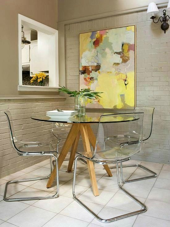 small dining room - clear surfaces, contemporary