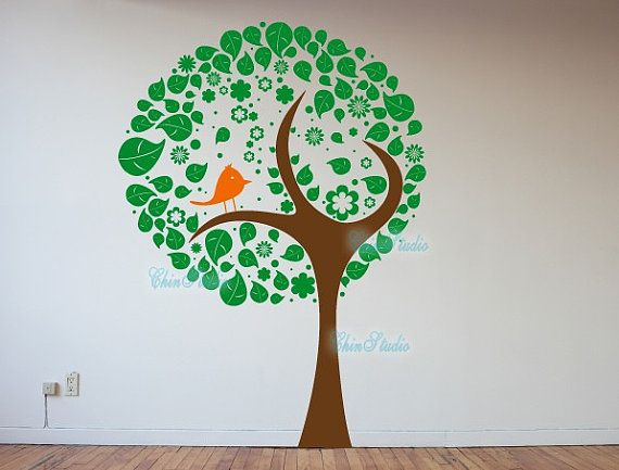 Tree Decal-A Bird sit on a tree Vinyl wall decal for by ChinStudio