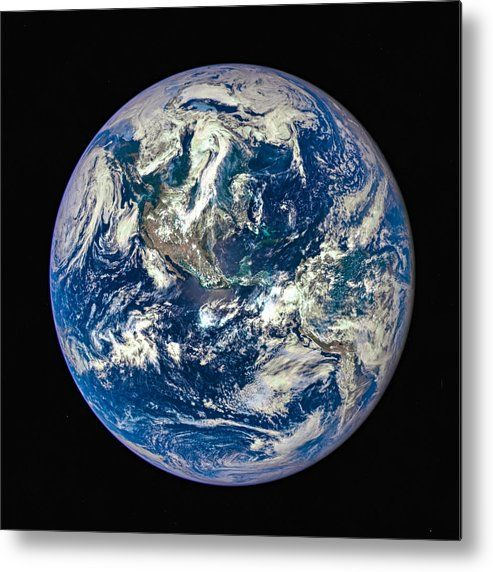 Blue Planet Earth Metal Print for sale. Earth as seen on July 6, 2015 from a distance of one million miles by a NASA scientific camera aboard the Deep Space Climate Observatory spacecraft. The image gets printed directly onto a sheet of aluminum. Metal prints are extremely durable and lightweight. The high gloss of the aluminum complements the rich colors of the image. Credit: NASA. Edit: Matthias Hauser - Art for your Home Decor and Interior Design.