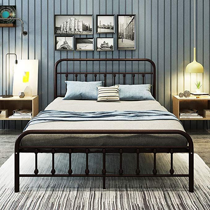 Dumee Metal Bed Frame Queen Size Platform With Vintage Headboard