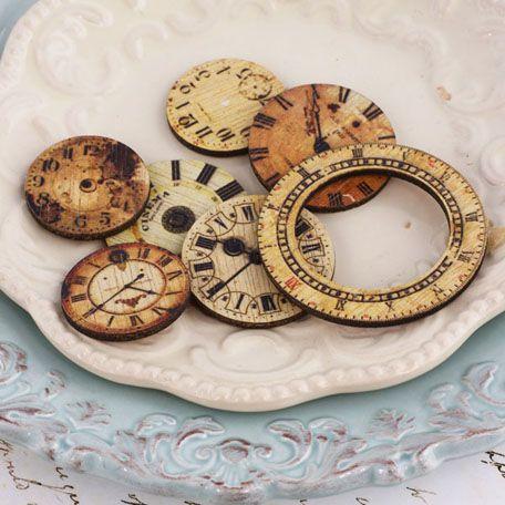 Prima - Wood Embellishments - Decorative Clocks at Scrapbook.com $4.99