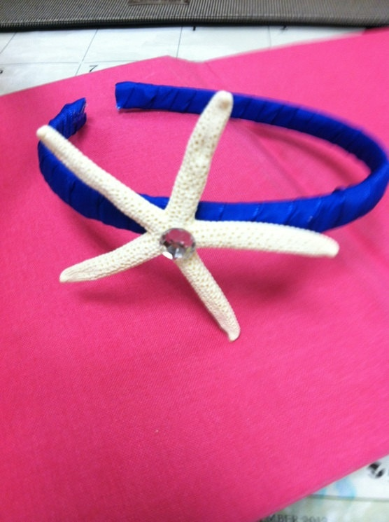 Royal Blue headband/White starfish by aimsev on Etsy, $10.00