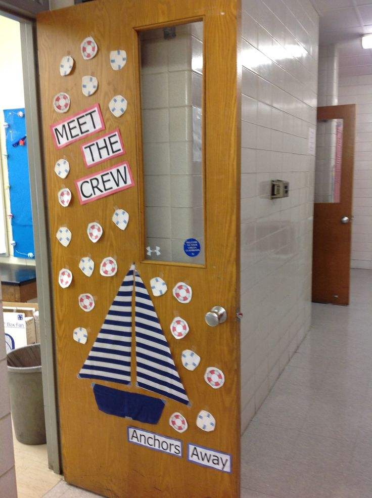 "My Nautical Door entry for the ocean/beach themed classroom ""Meet the Crew"" & ""Anchors Away"""