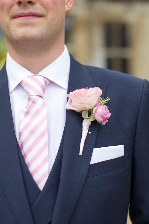 pink and white stripe tie and pink rose boutonniere #navy #pinkhttp://www.weddingchicks.com/2013/12/09/elegant-english-wedding/