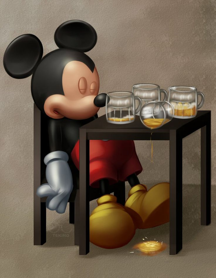 Mickey Mouse sleeping while drunk
