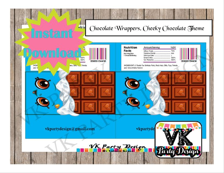 Shopkins Cheeky Chocolate. DIGITAL PDF. Instant Download. by VKPartyDesign on Etsy
