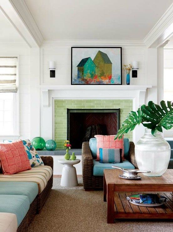 Love the green tile fireplace surround and the rest of this living room.