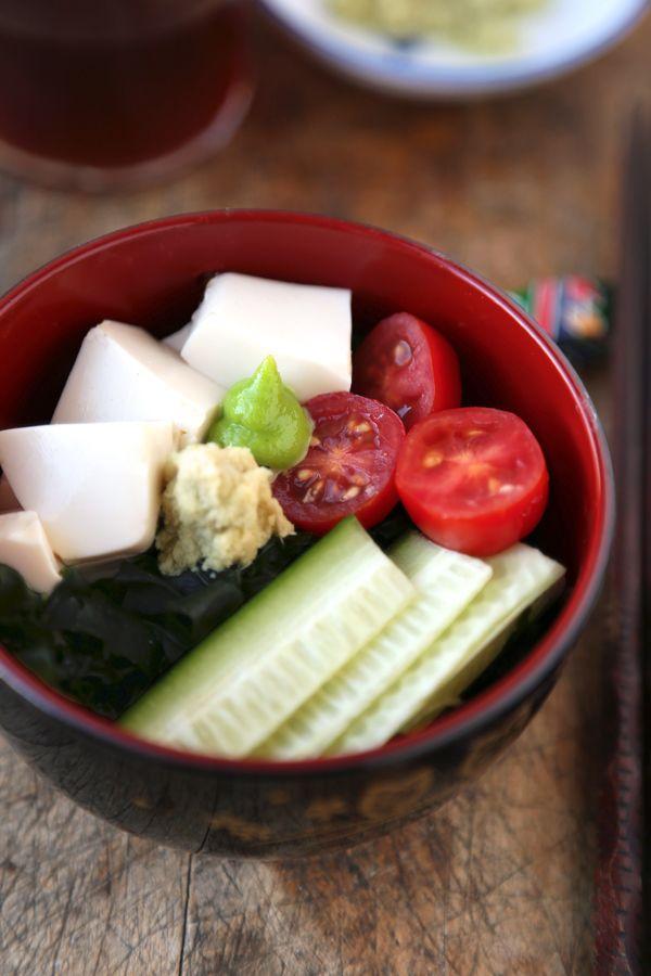 Wakame and silken tofu salad with mirin-dashi vinaigrette