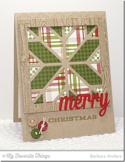 Fine Check Background, Grand Holiday Greetings, Plaid Background Builder, Wood Plank Background, Christmas Greetings Die-namics, Quilt Square Cover-Up Die-namics, Square Frames Die-namics, Chevron Stripes Stencil - Barbara Anders #mftstamps