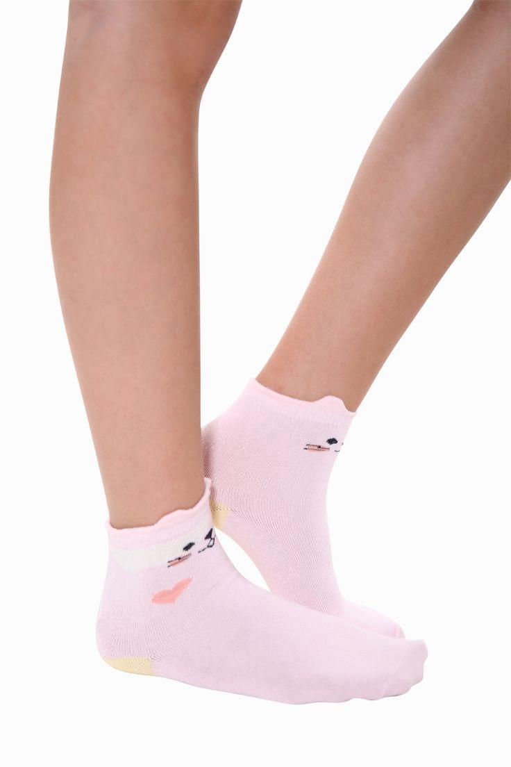 Creative Cat Socks In Light Pink