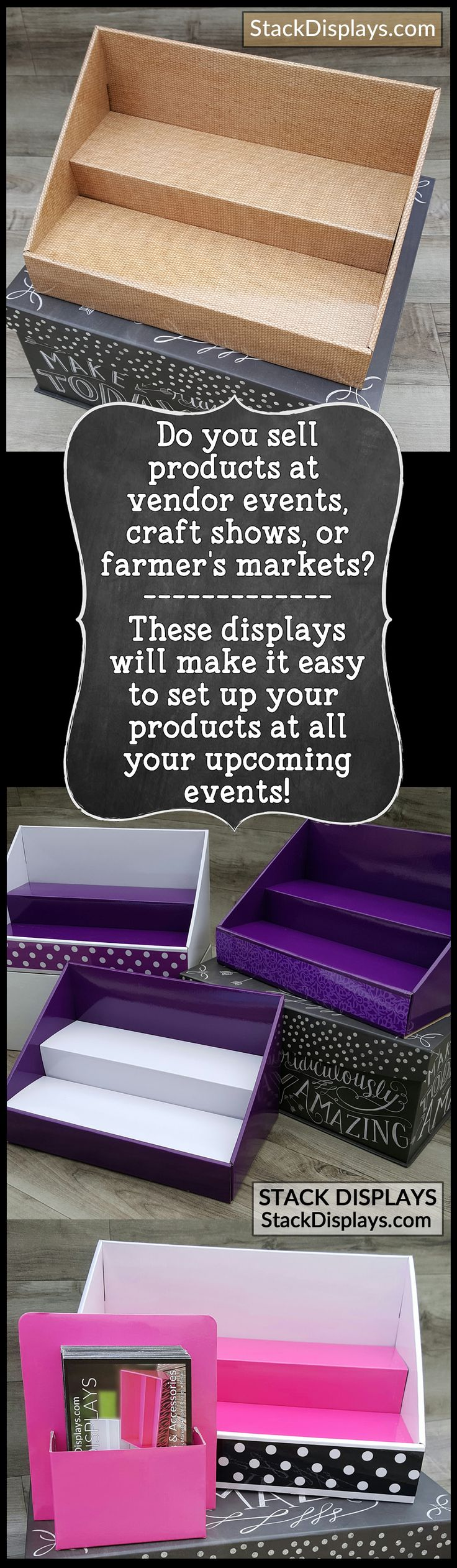 Are you a Direct Sales Consultant? Do you sell products from Perfectly Posh, Pure Romance, Pink Zebra, Scentsy, Younique Makeup, Jamberry Nails, Tastefully Simple, Avon, Mary Kay or Avon? Do you set up your products at vendor events or craft shows? These displays are perfect for you! Easy to set up and transport and will match your company colors!