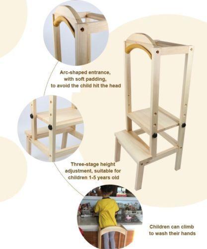 KIDS-children-wooden-kitchen-helper-stool-chair-DIY-fences-adjustable-height-c