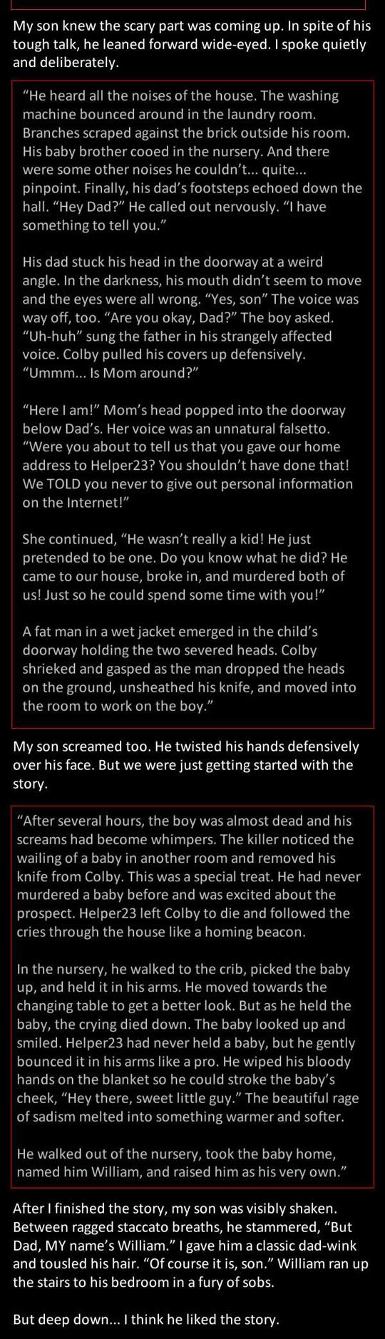 A Story to Scare My Son - (Continued) Creepypasta! ...This Is Horrifyingly Good!