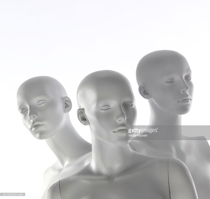 Stock Photo : Three store mannequin heads, close-up