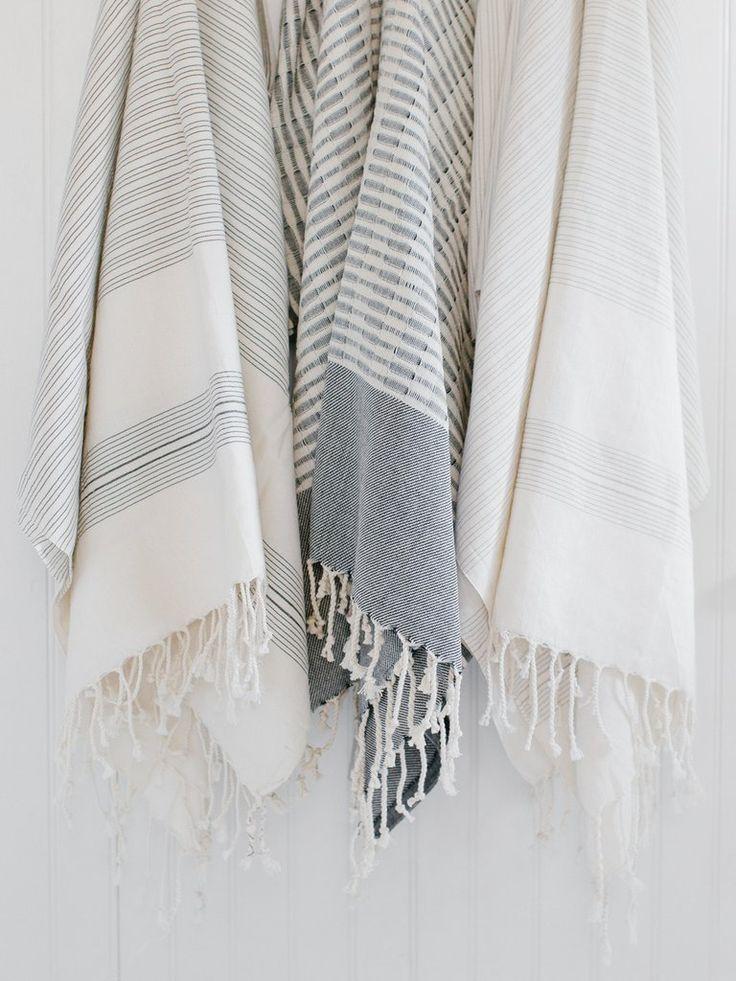 Black Striped Turkish Towel