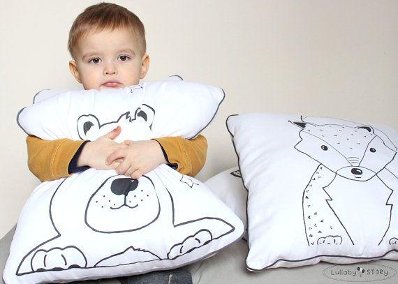 Teddy Bear Cushion-Decorative Pillow-Children room by LullabySTORY