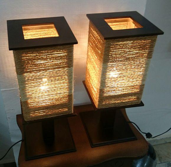 Par Abajur Luminária Revestida em Sisal