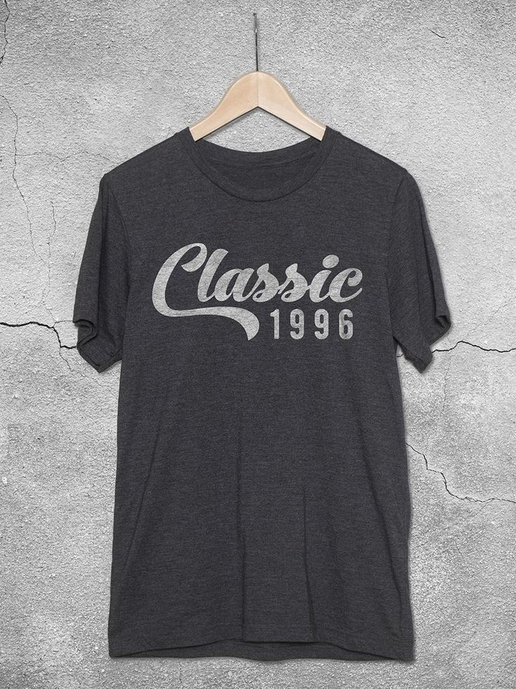 21st birthday gifts for guys & girls! This unisex tees features the 'Classic 1996' burnout graphic design printed on a soft, graphite t-shirt. 21st Birthday gift ideas.