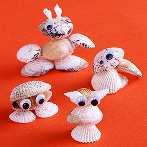 Nature-Inspired Crafts for Kids - Shell Creatures - Make It: Hunt for seashells on your next trip to the beach, or purchase them at a crafts store. Use glue to assemble the shells into creative creatures, adding google eyes and pom-poms as desired. Choose a fun name for each creature, then let the adventures begin!