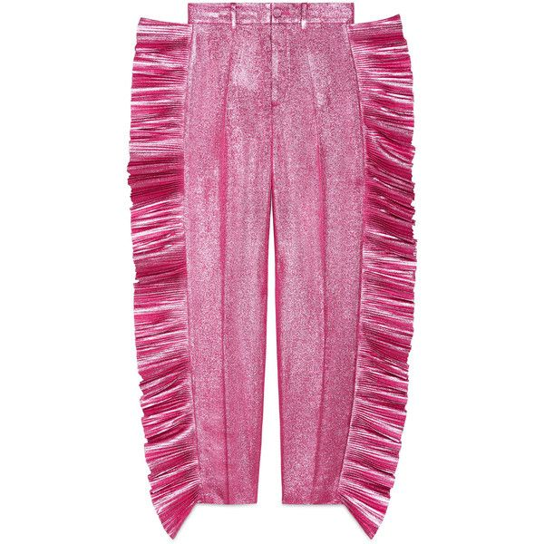 Gucci Lurex Pleated Pant ($1,670) ❤ liked on Polyvore featuring pants, pants & shorts, pink, ready to wear, women, pink trousers, pleated trousers, pink pants, gucci and metallic trousers