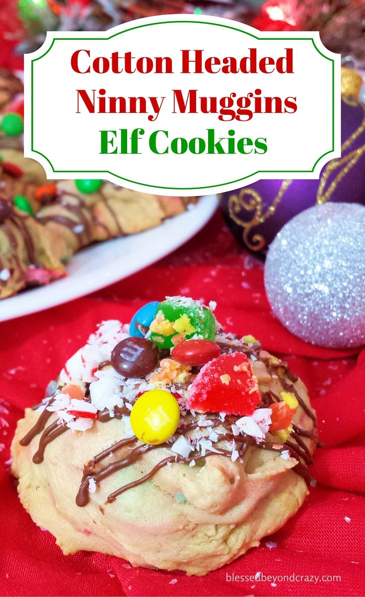Cotton Headed Ninny Muggins Elf Cookies - An Elf's four basic food groups: syrup, candy corn, candy cane, candy! This Christmas, make a batch of these delicious elf cookies for Santa and his busy little elves. Leave a plate of them by tree for on Christmas Eve and Santa can take them back to the North Pole for the other elves.