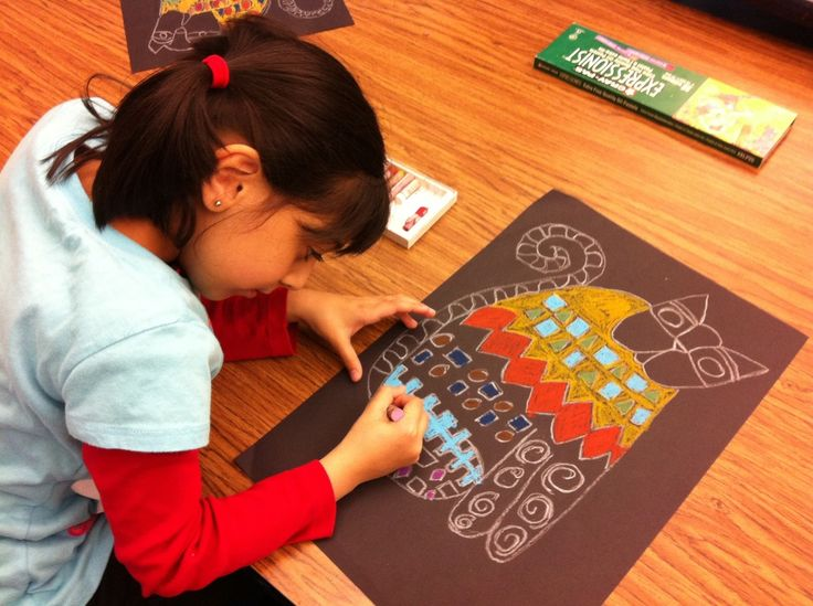 1st Gr. Laurel Burch Inspired Cats in Progress: Take a Sneak Peek! - Brunswick Acres Art