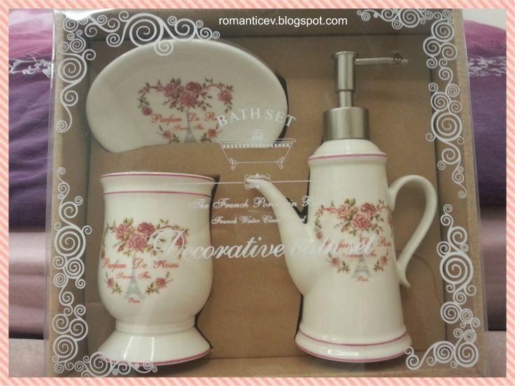 bath set banyo seti migros züccaciye ihraç romantik romantical vintage country style decoration home style pudra pink beyaz çiçek flowers