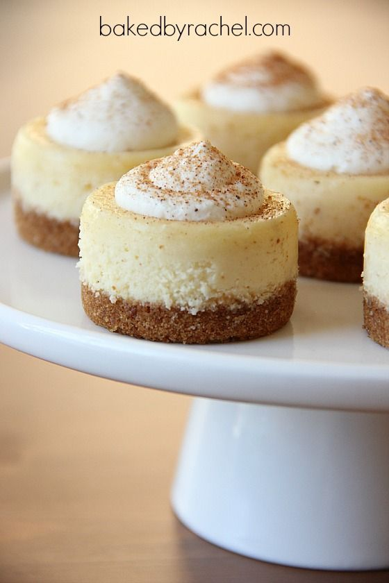 We love these Mini Eggnog Cheesecakes from @Rachel {Baked by Rachel}. Get the recipe: http://www.bakedbyrachel.com/2012/12/mini-eggnog-cheesecakes/