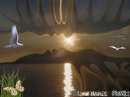 SUNSET LOVE !!original backgrounds, painting,digital art by tonydanis