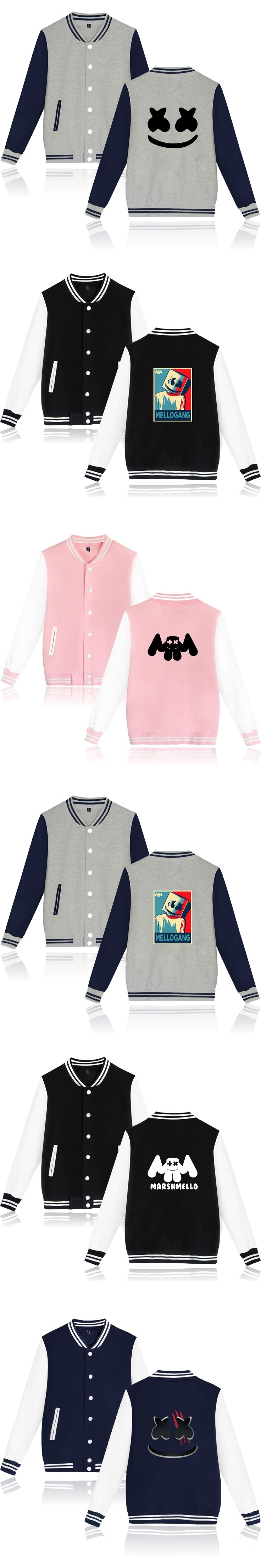 Marshmello jacket Print DIY Custom Logo Baseball Jackets Coat Cardigan Lovers Uniform Casual Brand Clothing Marshmello