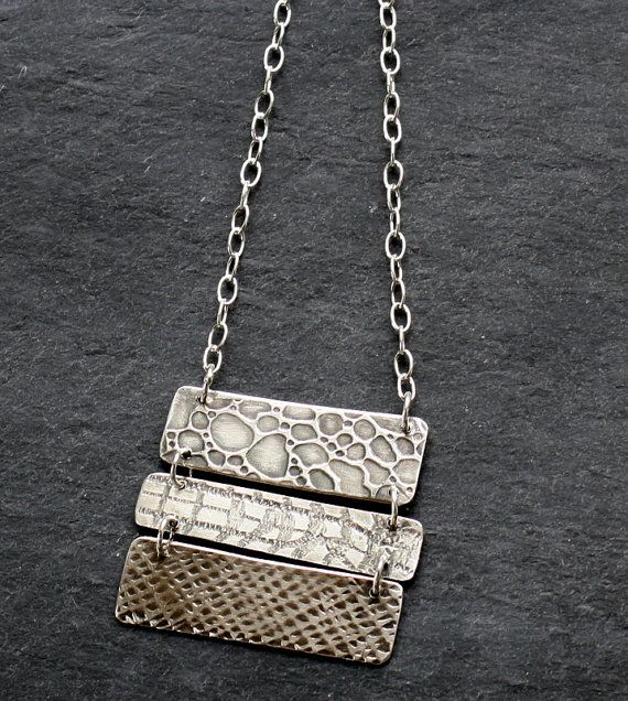 Tri Texture Silver Ladder Necklace by fugudesigns on Etsy, $72.00
