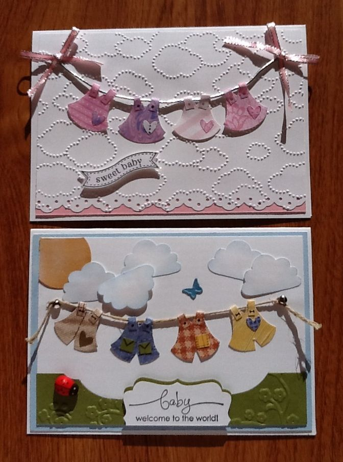 Love the pricked clouds on top card. Baby cards made using the Stampin' Up Owl Punch to make the outfits on the line.