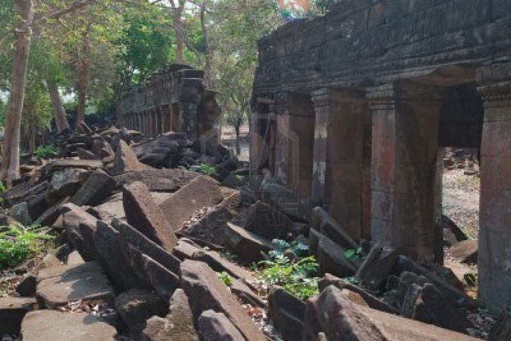 Banteay Chhmar Archaeological Site 63 km north of Sisophon, Cambodia.  The recently discovered excavation and restoration site is similar in size to the Angkor Wat at Angkor near Siem Reap.  Jungle overgrowth has been cleared from the site but very little.