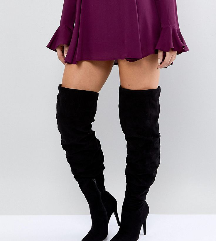 New Look Wide Fit Thigh High Heeled Boot - Black