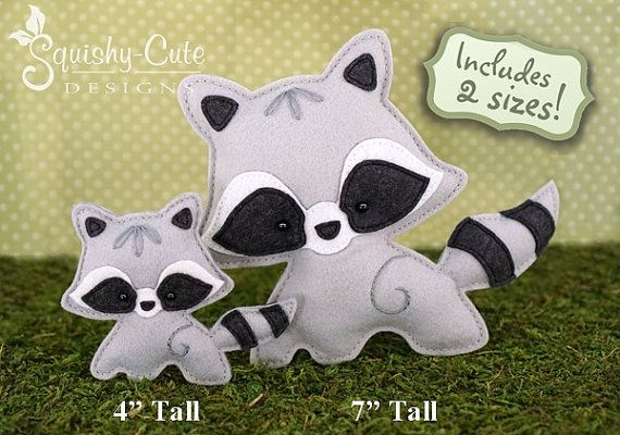 Raccoon Sewing Pattern PDF – Felt Baby Raccoon Ornament – Woodland Mobile Plushie Stuffed Animal – Roxy the Raccoon Baby – Instant Download