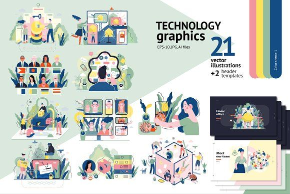 Technology graphics set, color 1 CreativeWork247 – Fonts, Graphics, Photoshop, Templates, Icons, Illustrations, Resumes