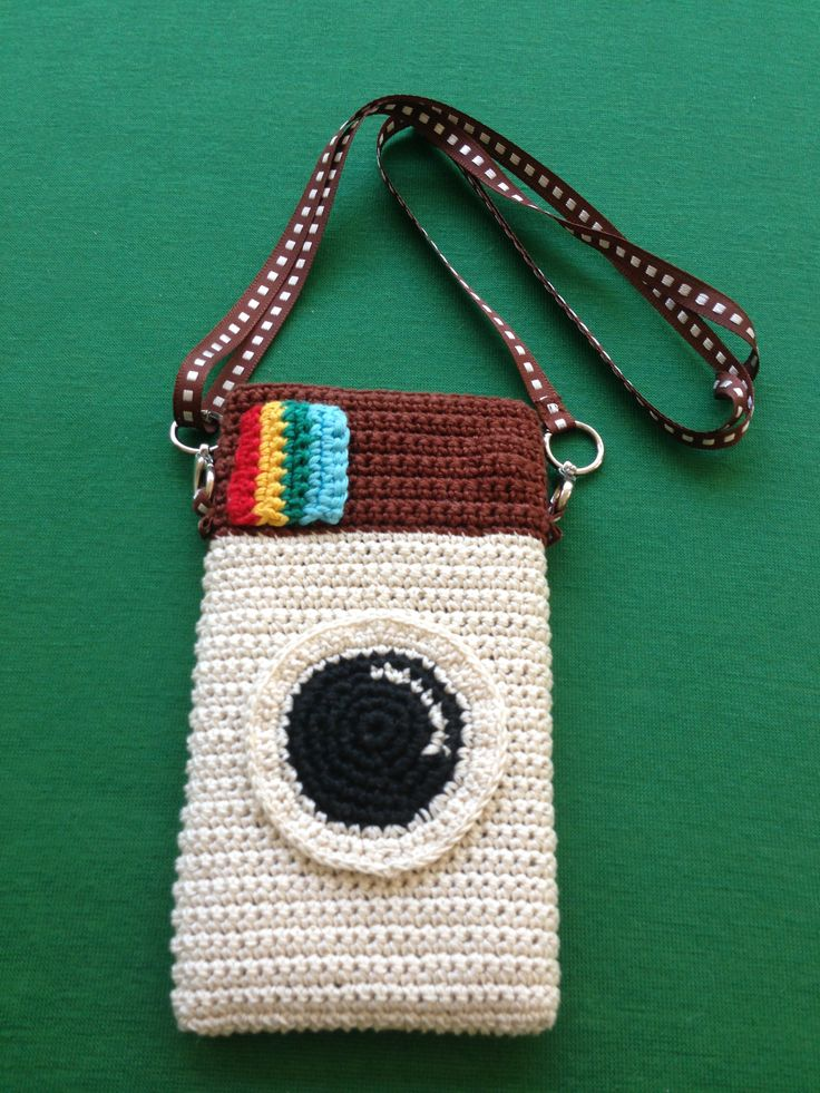 Handphone Case Crochet with belt neck $