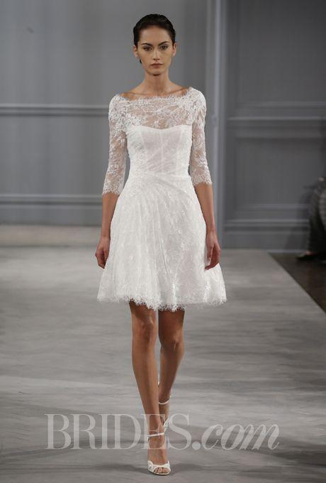 """Brides: Monique Lhuillier - Spring 2014. """"Vignette"""" silk white Chantilly lace bateau neck three-quarter sleeve draped dress with appliqued re-embroidered lace, Monique Lhuillier"""
