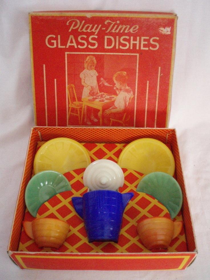 Play Time Akro Agate Child's Tea Set dishes vintage FREE SHIP  $125.00 OBO