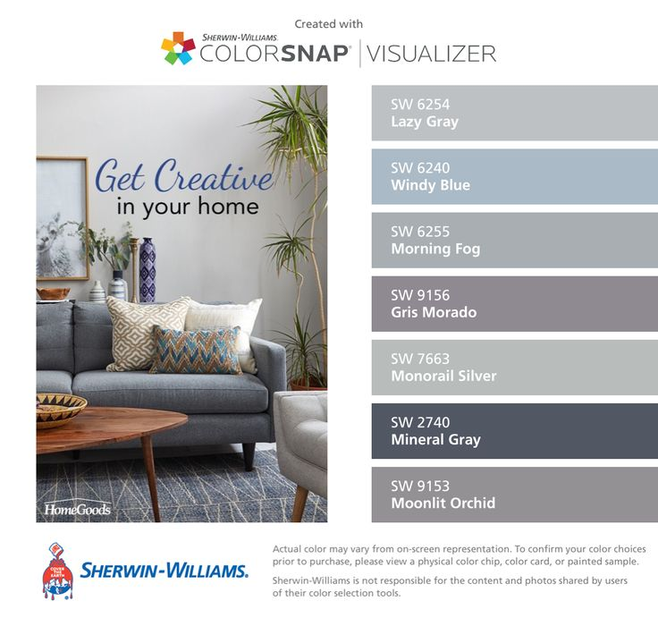 I found these colors with ColorSnap® Visualizer for iPhone by Sherwin-Williams: Lazy Gray (SW 6254), Windy Blue (SW 6240), Morning Fog (SW 6255), Gris Morado (SW 9156), Monorail Silver (SW 7663), Mineral Gray (SW 2740), Moonlit Orchid (SW 9153).