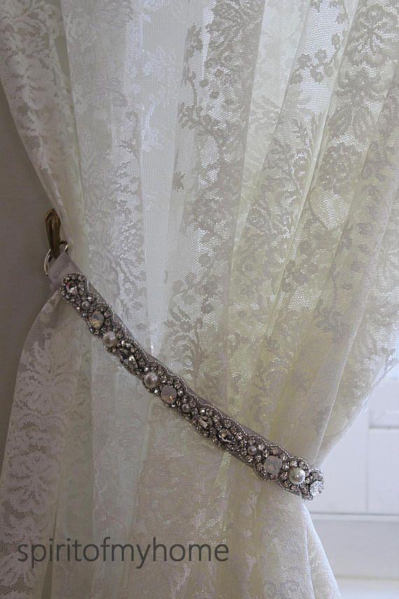 OLGA' Shabby Chic Vintage Styled Curtain Jewellery Crystal