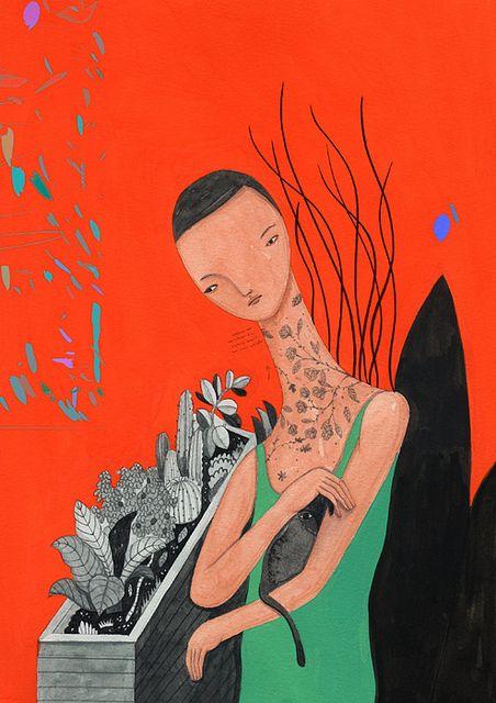 家是火焰紋路的貓掌花開◎洪凌 by 川貝母 Inca Pan, via Flickr: Illustrations Tal, Illustrations Paintings, Sources 川貝母, Inca Pan, Illustrations Printmaking, Prints Illustrations, 川貝母 Inca, Art Cat, Black Cat