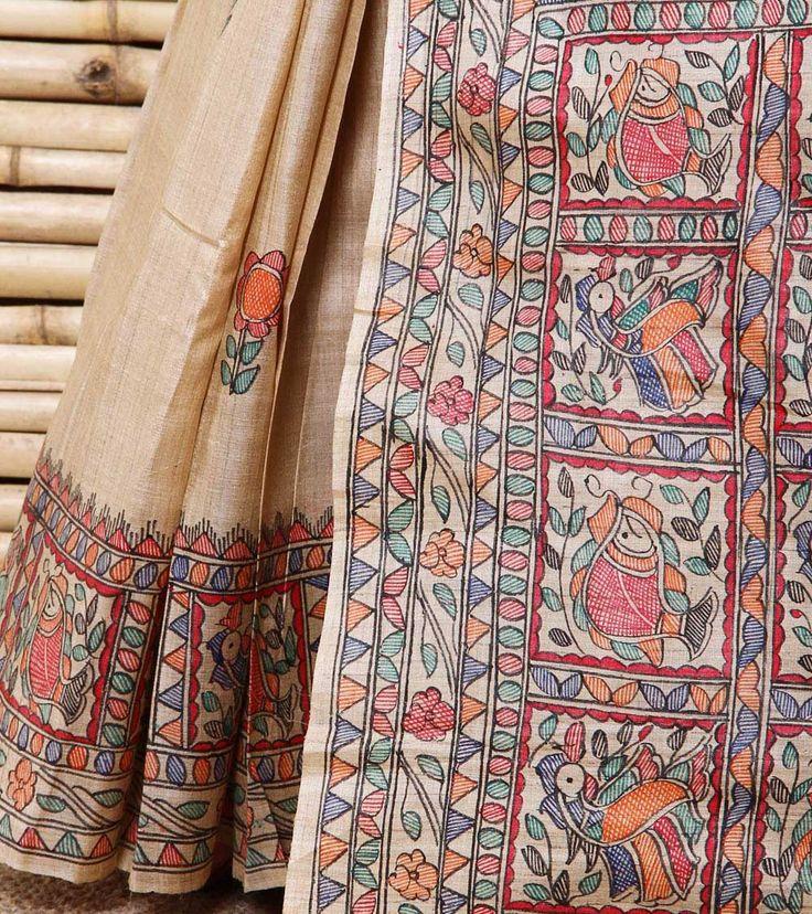 Beige Madhubani Handpainted Tussar Silk Saree