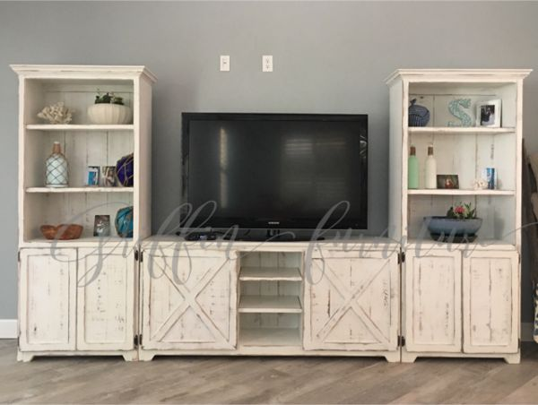 This entertainment center is made from hardwood and makes a great focal point for your space. We have the pieces listed as a set of 3 but if you would like one