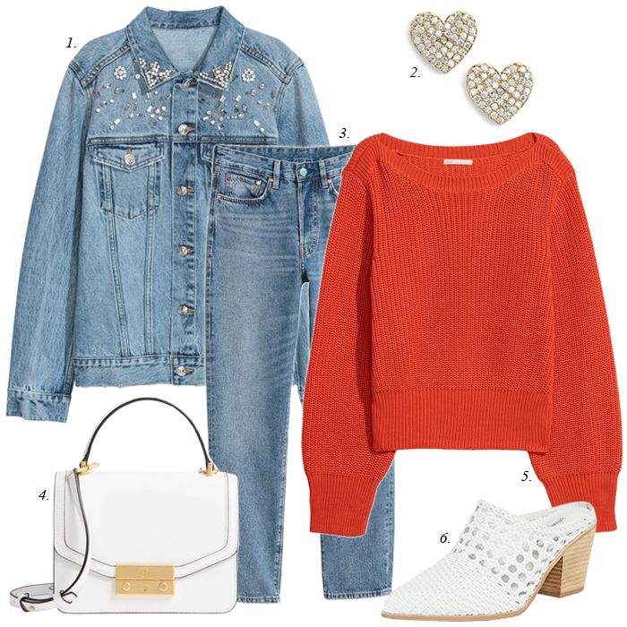 create a casual outfit for spring, sahm, casual outfit, red sweater, valentines day outfit, what to wear for casual valentines day
