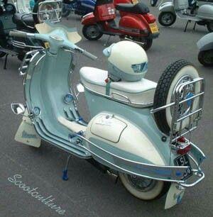 Classic Moped.Blue and white vespa.Classic truck. #TENSEMA16 Classic Car Art&Design @classic_car_art #ClassicCarArtDesign