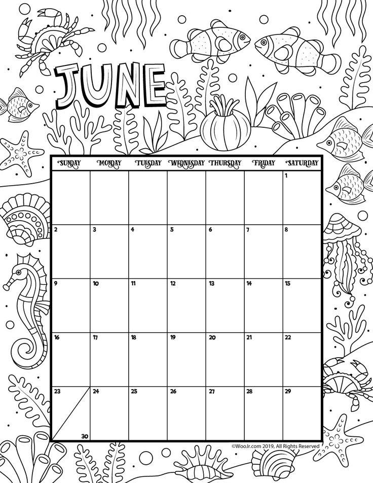 June 2019 Coloring Calendar Coloring