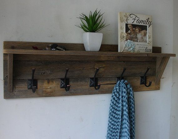 Rustic Reclaimed Wood 5 Hanger Coat Rack with Shelf - New Item!! on Etsy, $95.00